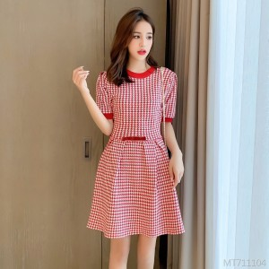Small Fragrance Bow Knit Short Sleeve Dress
