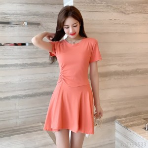Cotton short-sleeved dress bottom skirt with hem
