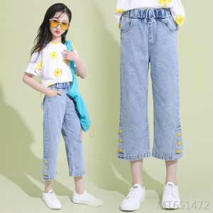 2020 new medium and large children's casual pants in rubber belts
