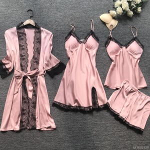 2020 new sexy four-piece Korean suspenders pajamas women's home wear with chest pad