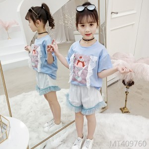 2020 new medium and large children's lace two-piece tide