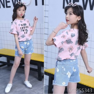 2020 new medium and large children's short-sleeved T-shirt two-piece cross-border suit