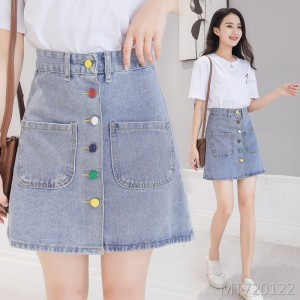 2020 new high waist slim thin wild skirt A-line skirt A type solid color
