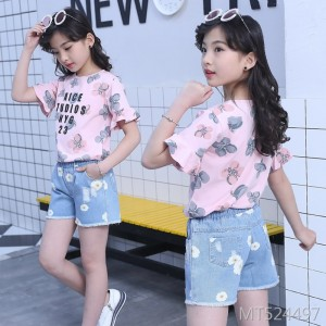 2020 new short-sleeved T-shirt shorts summer children's clothing girls two-piece suit