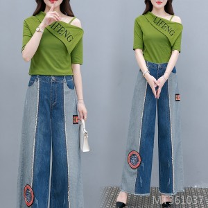 2020 new denim suit women are thin in summer