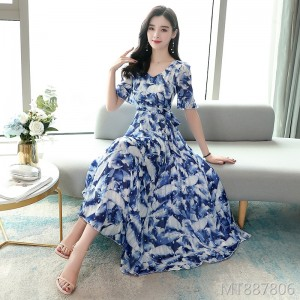 2020 new printed chiffon dress female mid-length A-type short sleeve