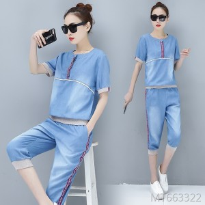 2020 new cropped pants casual sports suit