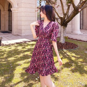 2020 new short-sleeved ruffled floral dress