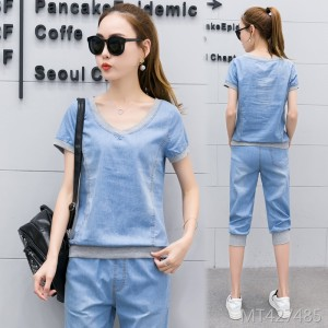 2020 new short-sleeved cropped trousers slimming fashion suit