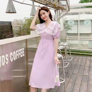 2020 new chiffon was thin over the knee long skirt dress