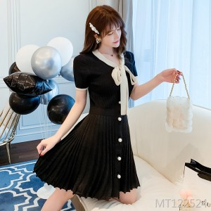2020 new French niche lace bow dress short sleeve commute