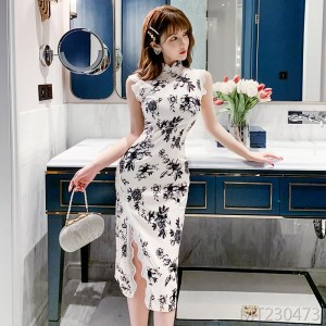 2020 new blue and white porcelain improved mid-length split lace cheongsam jumpsuit