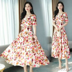 2020 new chiffon cover belly slimming dress big swing type conventional short