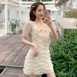2020 new bow lace mesh dress
