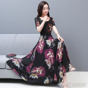 2020 new chiffon cover belly slimming dress hedging