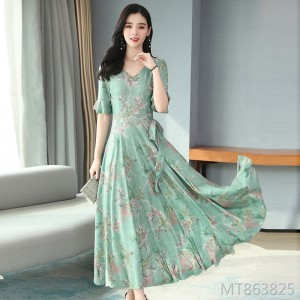 2020 new summer knitted printed fashion dress