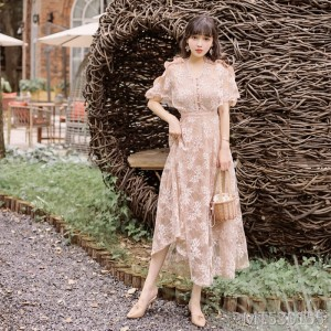 2020 new daily bat sleeves delicate lace dress