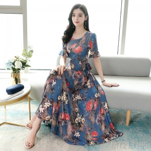 2020 new knitted printed fashion dress