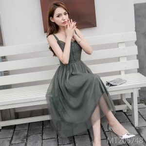 2020 new mid-length mesh skirt spring bottoming lace