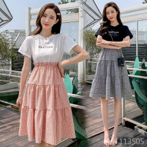 2020 new sweet fake two pieces high waist slimming plaid dress
