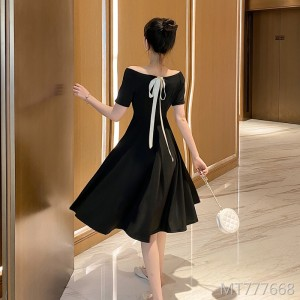 2020 new long French retro dress summer bow display